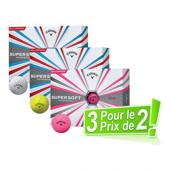 CALLAWAY - Pack 2 égal 3 Dz Supersoft Blanc/Jaune/Rose 2017