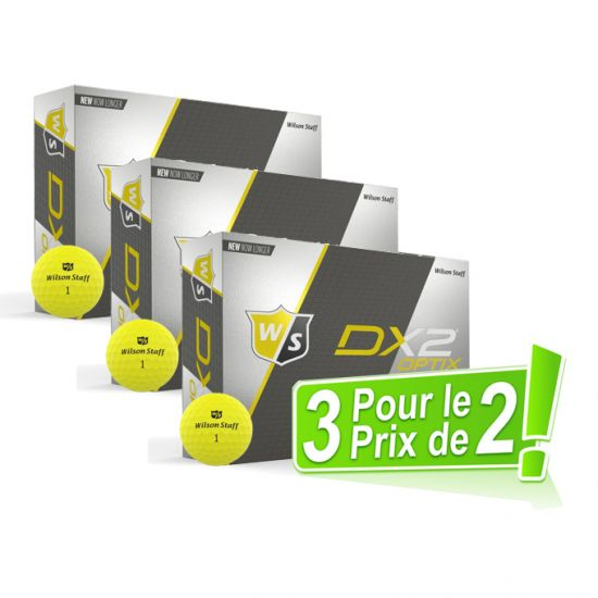 WILSON - Pack 2 égal 3 Dz Dx2 Soft Optix Jaunes 2018