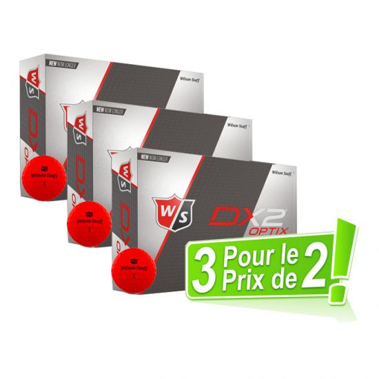 WILSON - Pack 2 égal 3 Dz Dx2 Soft Optix Rouge 2018
