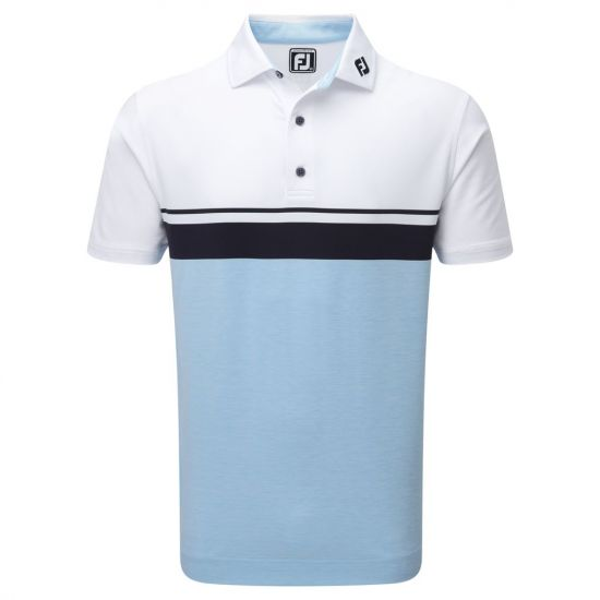 FOOTJOY - Polo Stretch Pique 92467E9 Blanc/Ciel Homme